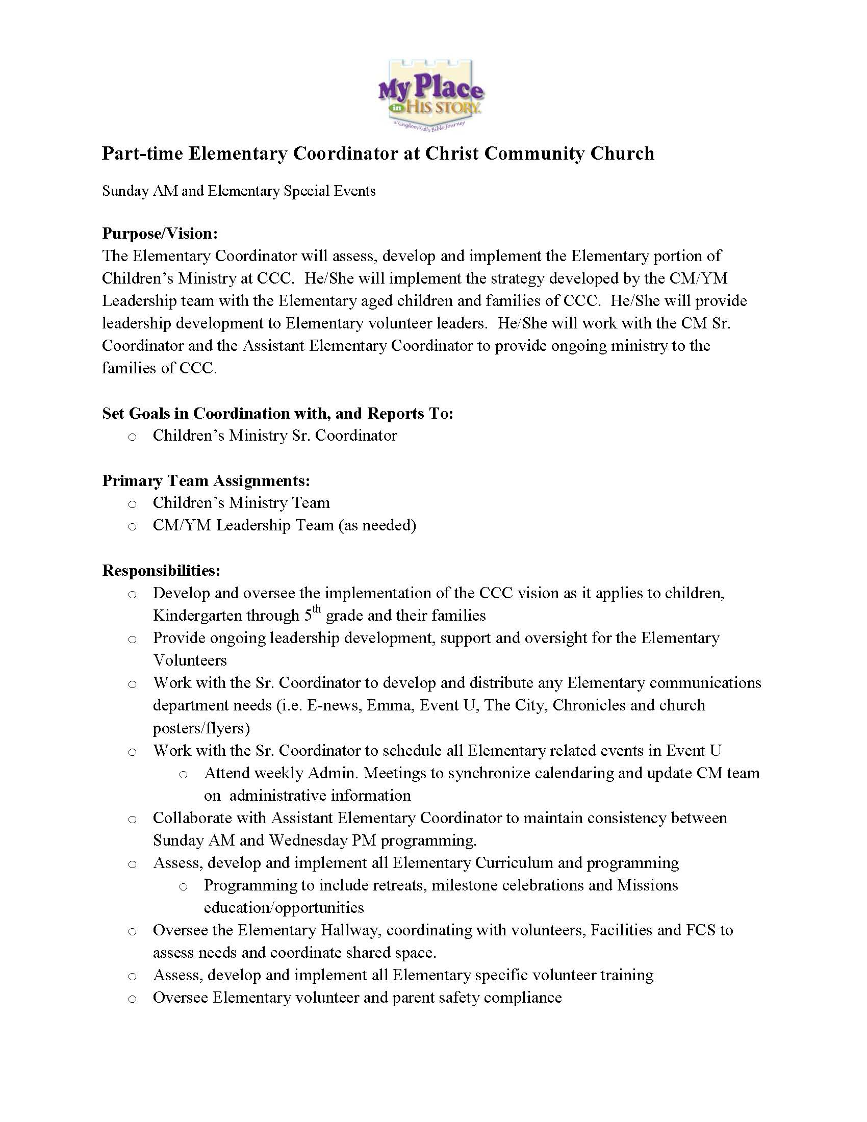 volunteer coordinator job description cipanewsletter part time elementary coordinator position open at christ community